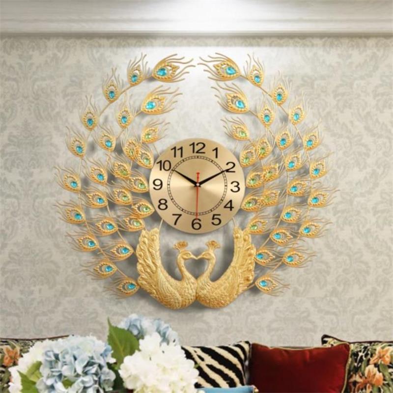 Personnalité de luxe cristal paon horloge murale Design horloge murale montée en métal mur montre bricolage salon décoration R1486