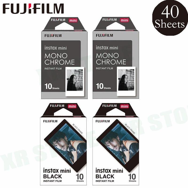 цена на Fujifilm Instax 20 Black frame + 20 Monochrome Sheets Film Photo Paper For Fuji Instant Mini 8 9 70 7s 50s 90 25 SP-1 2 Camera