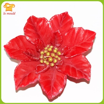 2016 New  perspective Christmas flower silicone candle molds  large Christmas leaf soap moulds