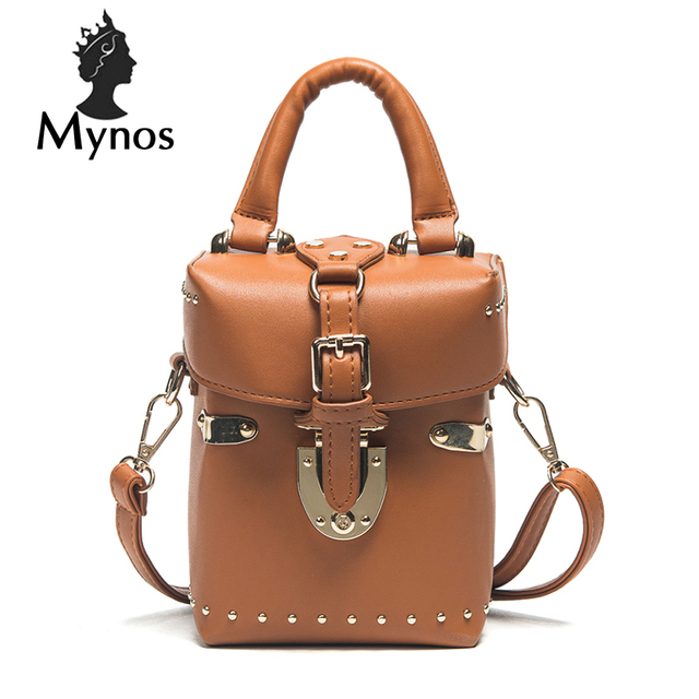 5b1f71ba395d US $31.65  MYNOS Fashion Women Crossbody Bag Small Phone Bag Trunk Hard  Mini Women Handbag Rivet Brand Designer Women Bag SAC A MAIN Femme-in ...