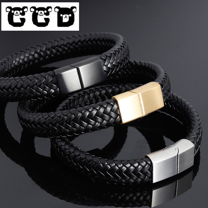 Black Leather Bracelet Stainless Steel Clasp Bangle Punk Braid Rope Chain Male Magnetic buckle Wristband Christmas Gift Jewelry