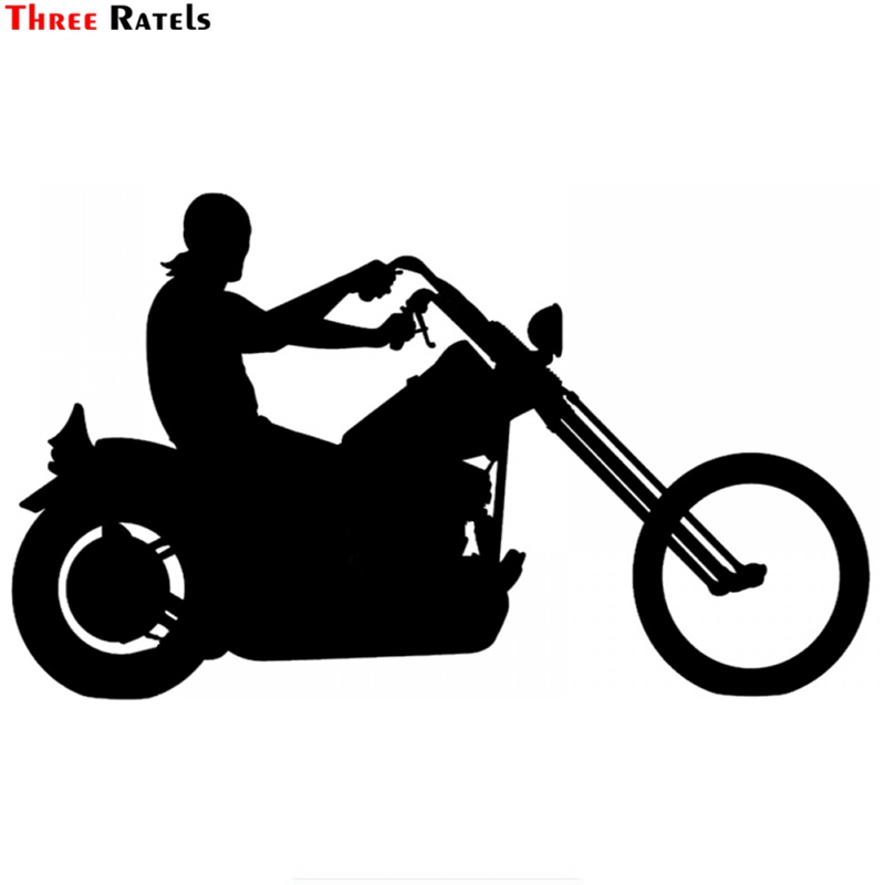 Three Ratels TZ-1463#13.6*23cm Biker On Board  Motorcycle Car Stickers Funny Auto Sticker Decals