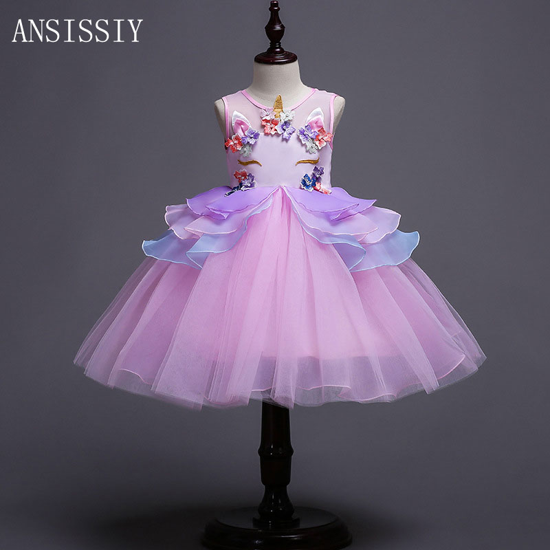 Fancy Kids Unicorn Dress for Girls Embroidery Mesh Flower Ball Gown Princess Dresses for Party Costumes Show Vestido Unicornio games [a2 b1] preguntas encadenadas