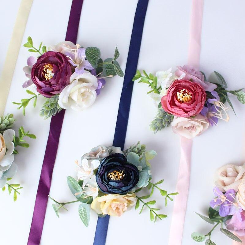 wrist flower bridesmaids Bracelets silk roses pink (26)
