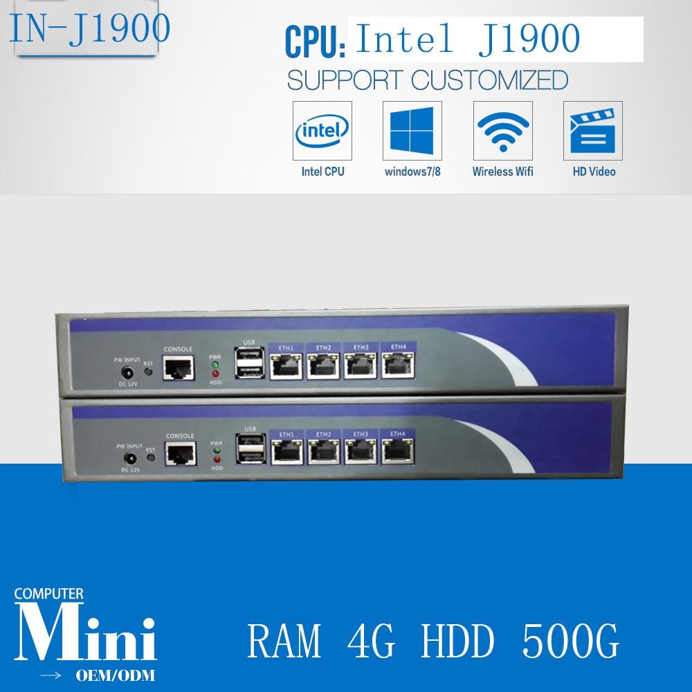 Cheap Industrial Firewall Pc Linux Quad Core  Celeron J1900 2.0GHZ Support ROS Mikrotik PFSense Panabit Wayos PC 4G HDD 500G