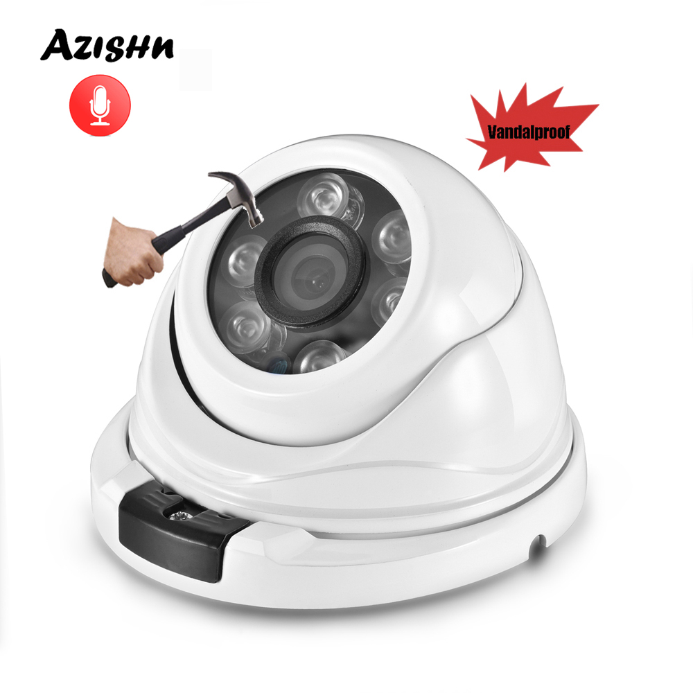 AZISHN Audio H.265 3MP wide angle IP Camera microphone onvif IP66 P2P XMEye Network Dome Security CCTV Camera DC 12V/48V PoE