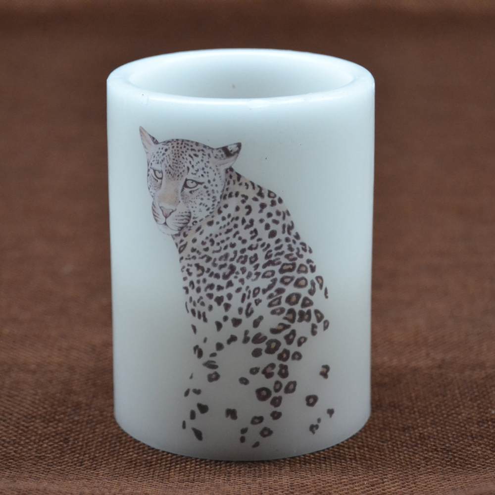 New Design Leopard Image Real Wax Led Candle In White Color Realistic Candle Effect With Flikering