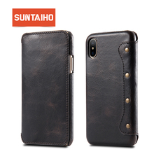 Suntaiho Wallet Leather Case For iphone X Case Luxury Coque Cover For iphone 7 8 plus Case With Card Pocket Phone Bag cover