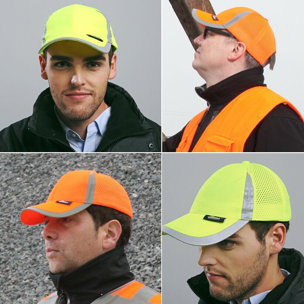 Men Hi Vis Protective Bump   Cap     Baseball   Style Hard Hat Safety Workwear Yellow Orange Brightful   Cap   High Visibility   Baseball     Cap