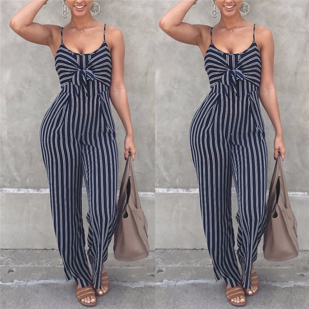 2019 Summer Blue Striped Backless   Jumpsuit   Women Sexy Straps Sleeveless Clubwear Rompers Womens   Jumpsuits   Casual Bowtie Overalls