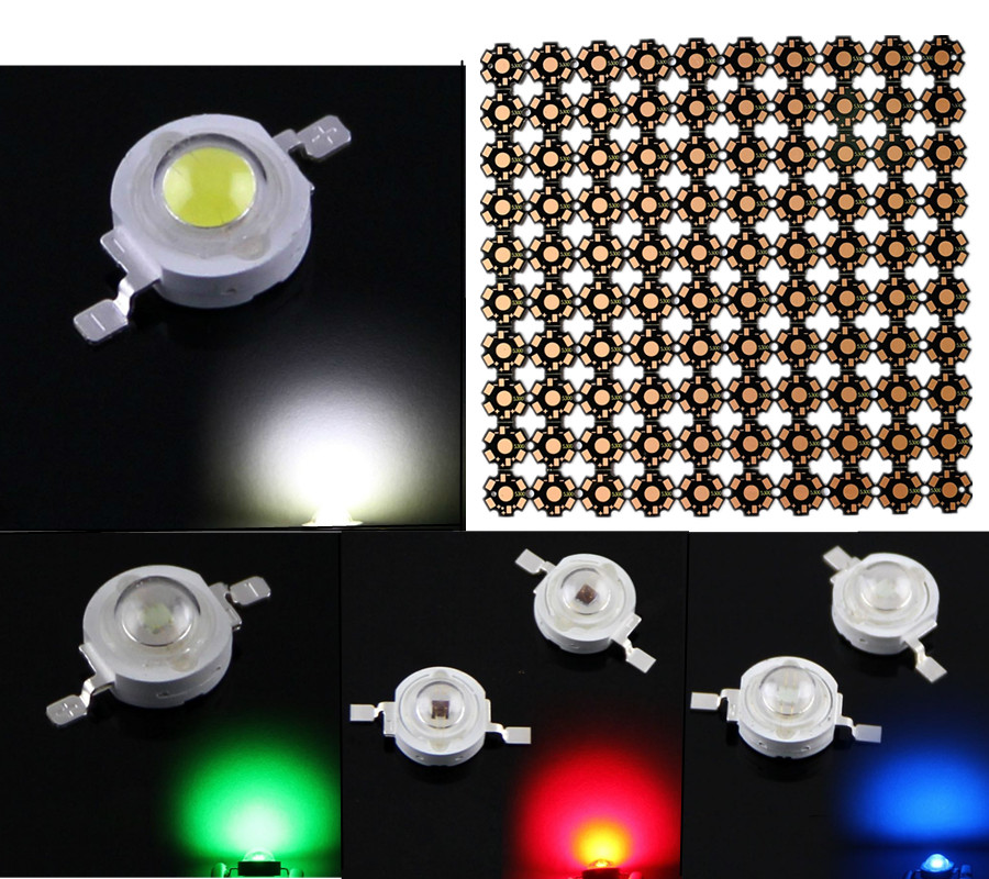 100PCS/LOT <font><b>LED</b></font> <font><b>1W</b></font> 3W 35mli 45mli PCB + chips 20mm hight power <font><b>Bulb</b></font> SMD Lamp Light white blue red green yellow pink light beads image