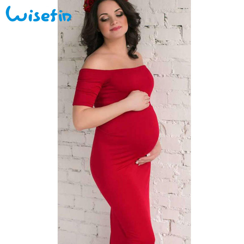 Wisefin Maternity Gown Women Pregnancy Dress Clothes Off Shoulder Pregnant Maxi Dress Photo Shot Maternity Dresses Photography