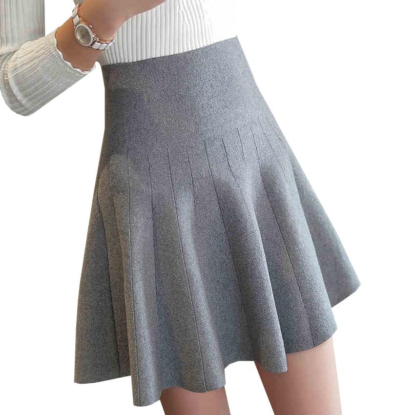 New Women Knitted Skirt Autumn Winter Sexy Solid High -1388