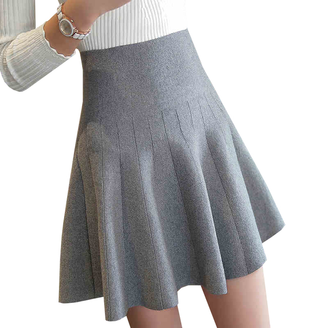 New Women Knitted Skirt Autumn Winter Sexy Solid High Waist Short skirts  Umbrella Pleated Skirt Ladies