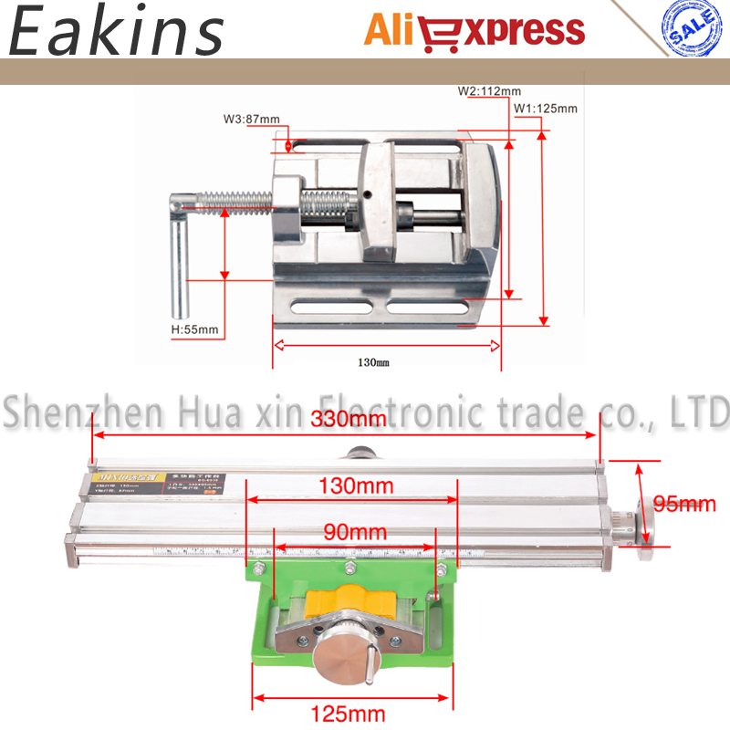 Composto di alluminio Panchina Apparecchio di Lavorazione del Legno tavolo di Lavoro X Asse Y Regolazione Coordinata Precisione + 2.5 ''Piatto Pinze Vise