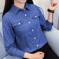 2017 Весной Новые Женщины Случайный С Длинными рукавами Джинсовые Рубашки Женщины Случайный Все Матч 100% Хлопок Свободные Рубашки Основные