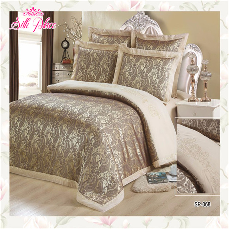 """Silk Place"" Europe Fashion Quality Bedding Set Jacquard Family Bedding Set 5-7pcluxurious Bedclothes Queen Size Adult Bedding"