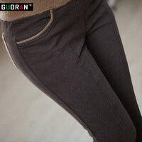 Inverno caldo donne di stirata di alta elastico in vita pantaloni di cotone casuale Più Il formato S-4XL di spessore in pile signore patchwork matita pantaloni