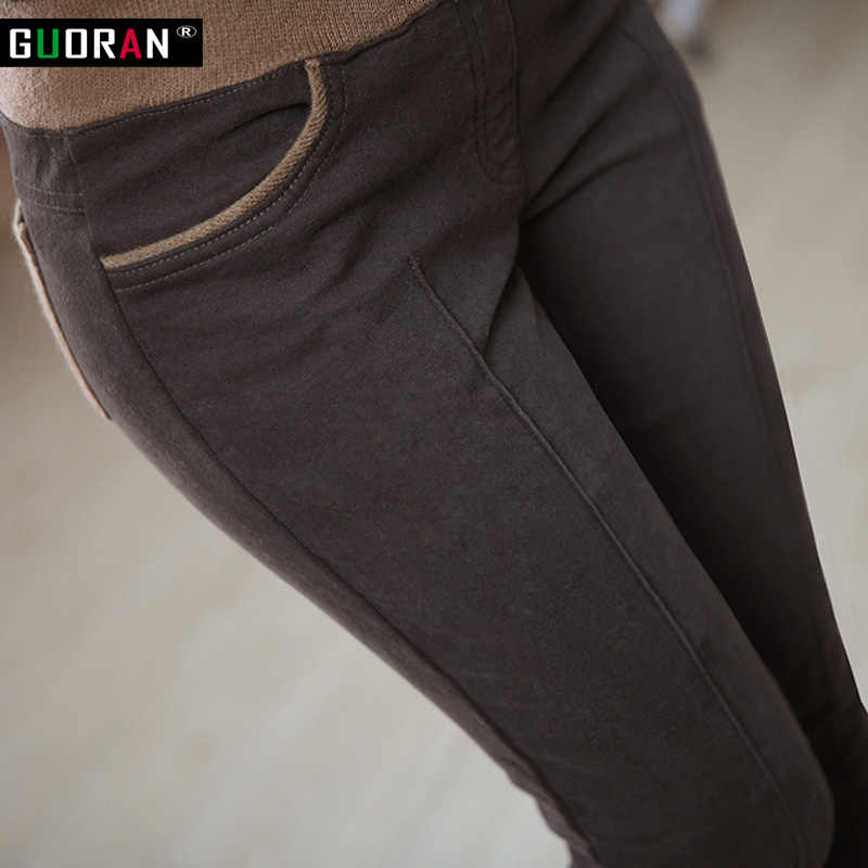 Wanita Musim Dingin Hangat Peregangan Elastis Tinggi Pinggang Kasual Berbahan Katun S-4XL Tebal Bulu Wanita Patchwork Celana Pensil