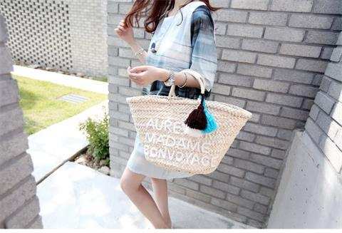 2018 Three-line Embroidered Letters-new Straw Bales Beach Bag Holiday Rattan Bag Women Messenger Bags