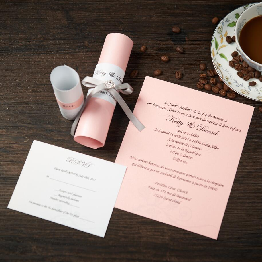 Vintage Wedding Invitations Card With Ribbon Scroll Birthday Party ...