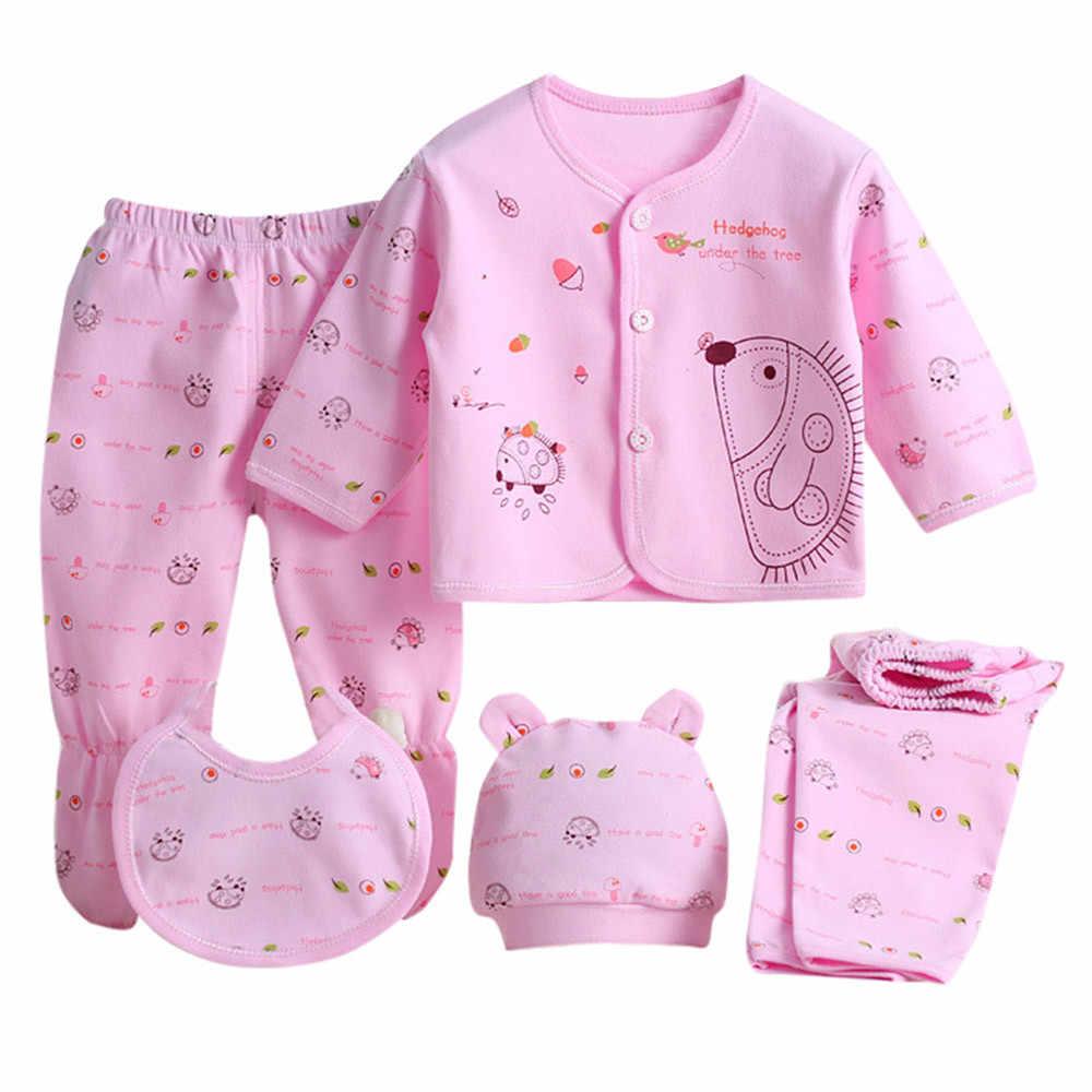 SAGACE conjunto para bebé recién nacido 0-3 meses Ropa 5 uds Tops de manga larga de dibujos animados de niño niña + sombrero + Pantalones + babero pijamas para niña bebé conjuntos