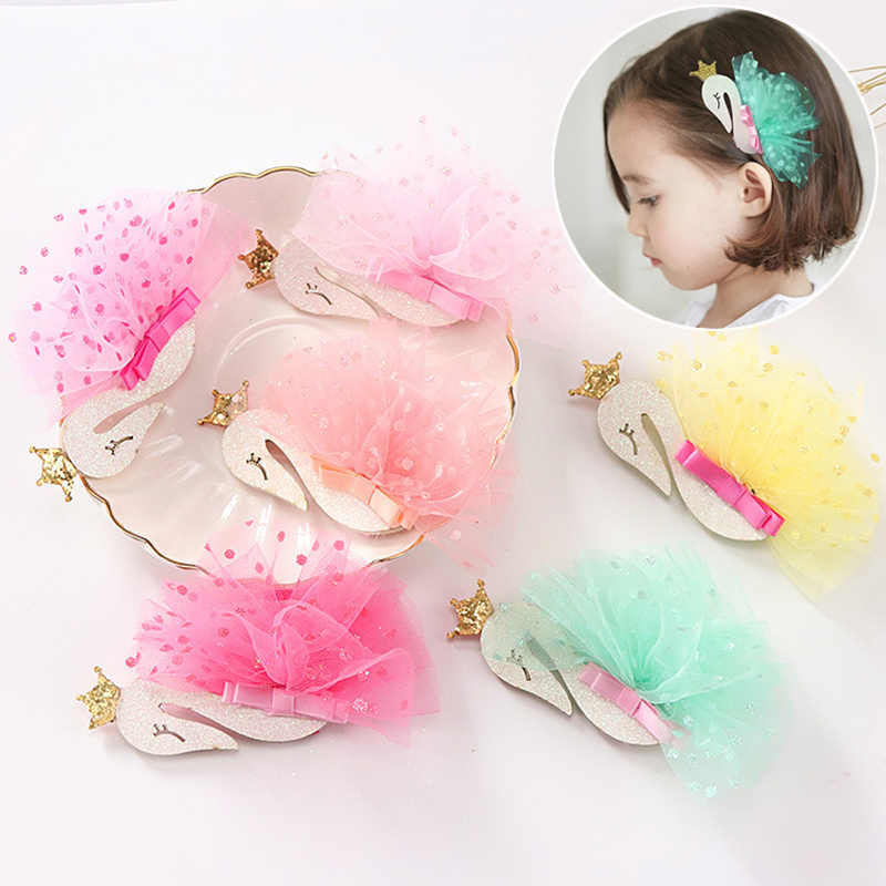 New Flamingo Children Kids 1PC Girls Hair Clips Princess Tiaras Hairpins Mesh With Sequin Crown Yarn Swan Headdress Cygnus