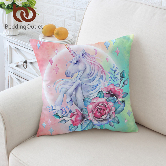 BeddingOutlet Unicorn And Rose Cushion Cover Cartoon Pillowcase Classy Girly Decorative Pillows