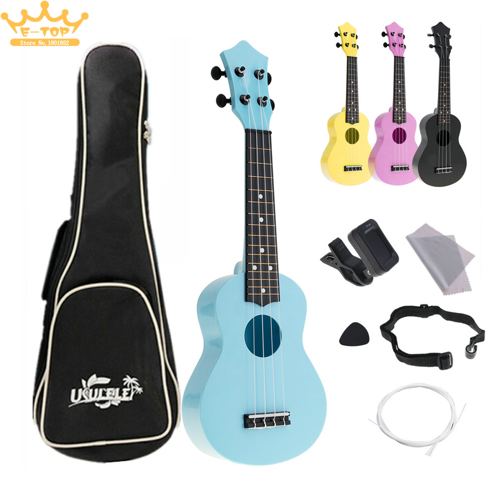 21Inch 4 Strings Colorful Ukelele Full Kits Acoustic Hawaii Guitar Guitarra Instrument for Kids and Music Beginner