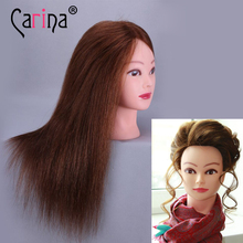 Hairdressing Head Mannequin Wig 100% Real Human Hair Hairstyles Hairdresser Training For 18 Dummy