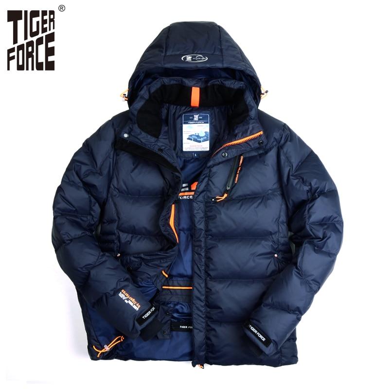 TIGER FORCE 2017 Men New Down Jacket Fashion Winter Down Coat Parka 80 White Duck Down