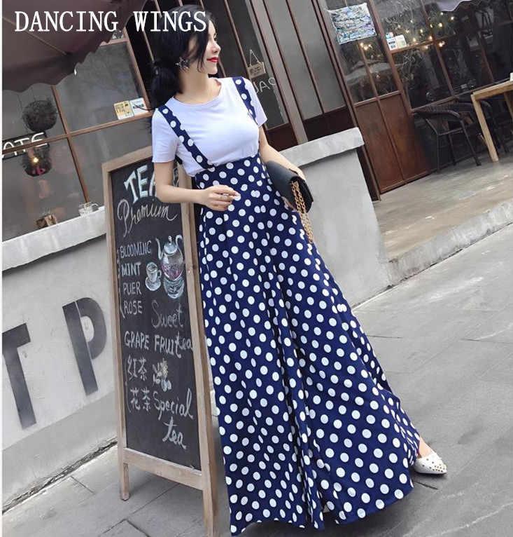 Летняя мода с открытой спиной в горошек печати ремень шифон широкие брюки женские комбинезоны Vestidos