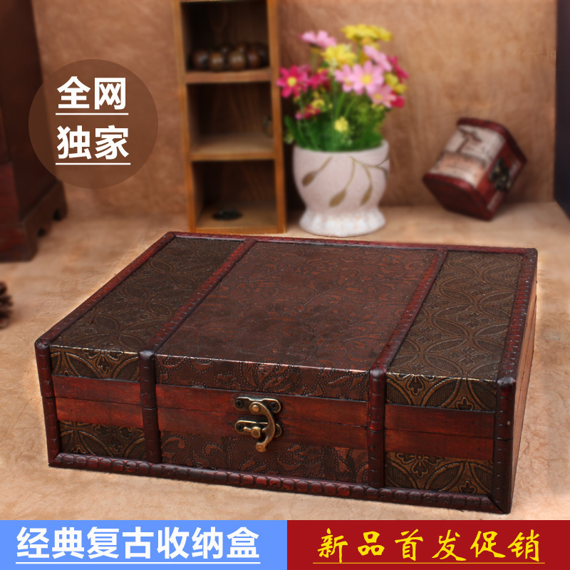 Taobao hot exclusive creative storage box storage wooden antique books vintage wooden boxes can be customized