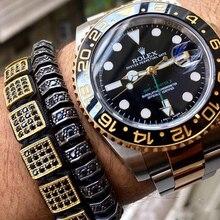 Nowa europejska i amerykańska moda kobiety kwadratowe bransoletki, Micro Pave CZ box bransoletka mężczyźni pleciona bransoletka zegarek dzika biżuteria