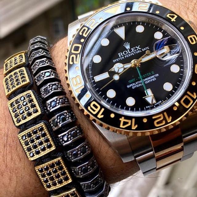 Pulseras cuadradas de moda europea y americana para mujer, pulsera de caja Micro Pave CZ hombres pulsera trenzada reloj joyería salvaje
