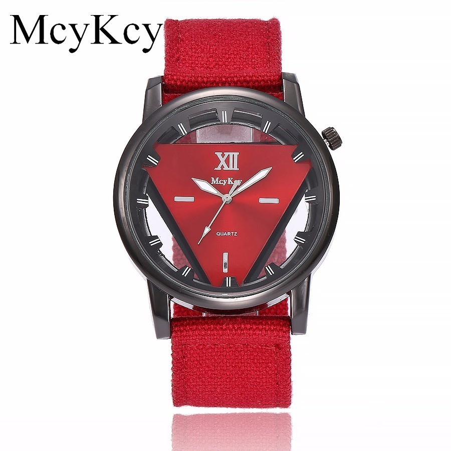 New McyKcy Brand Personality Unique Hollow Triangle Watches Men Army Military Watches Clock Male Quartz Watch Clock Hot Selling weide new men quartz casual watch army military sports watch waterproof back light men watches alarm clock multiple time zone