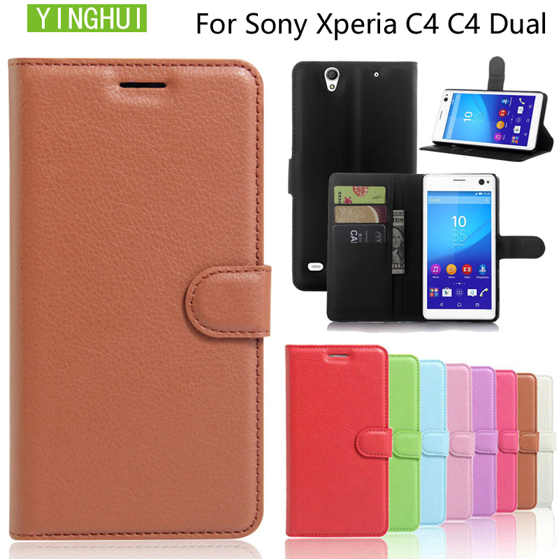 YINGHUI Flip Case For Sony Xperia C4 Cell Phone Case Cover Wallet Leather Case Fundas Protective Case For Sony Xperia C4 Dual