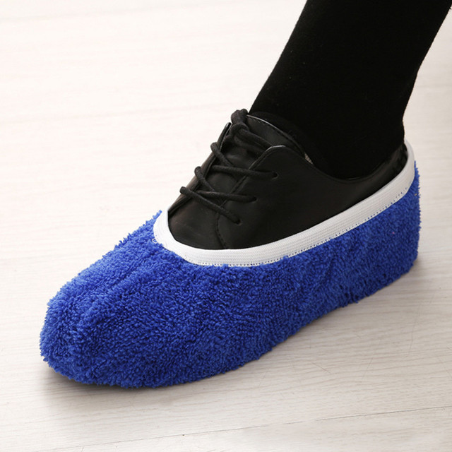 2Pcs/set Multifunctional Chenille Micro Fiber Shoe Covers Clean Slippers Lazy Drag Shoe Mop Caps Household Tools 7 Colors