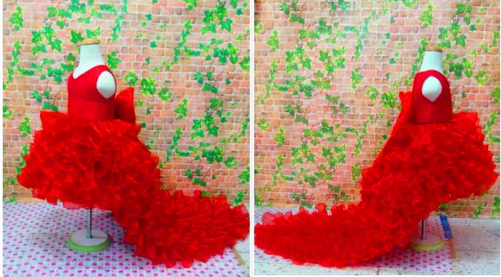 2017 Red Flower Girl Dresses High Low  spoon sleeveless Floor Length Satin Tulle Ball Gown Kids Wedding Party Dresses lucky john croco spoon big game mission 24гр 004
