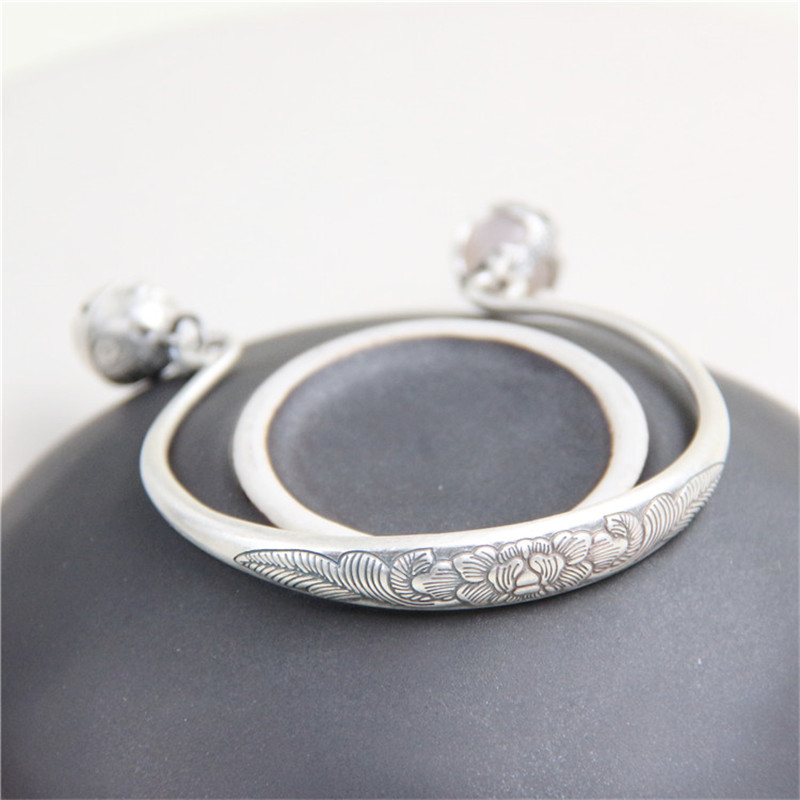 JINSE New Sterling Silver Jewelry S999 Fine Silver Peony Bangles for Women Silver S999 Jewelry Bell Charms Bracelets & Bangles s999 sterling silver carved peony flower bracelet silver pendant bracelet for women