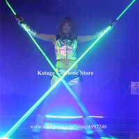 K815 Bar green laser projector dj laser men wears Hand laser sword laser base glowing dance costumes props luminous outfit disco