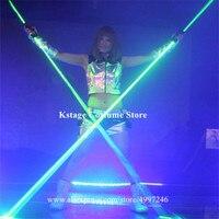 K815 Bar green laser projector dj laser men wears Hand laser sword laser base glowing dance costumes props luminous outfit disco