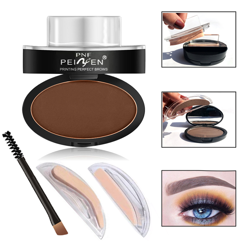 Eyebrow Enhancers 4pcs/set Eyebrow Powder Seal Waterproof Eyebrow Stamp Long Lasting Eye Brow Shadow Set Natural Shape Brow Stamp Powder Palette