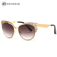 AEVOGUE Brand Design Cat Eye Sunglasses Women High Quality Metal Frame Openwork Mesh Modeling Sun Glasses