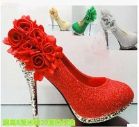 Wedding Shoes Spring And Summer Single Shoes Gold High Heeled Shoes Green White Red Bridal Shoes
