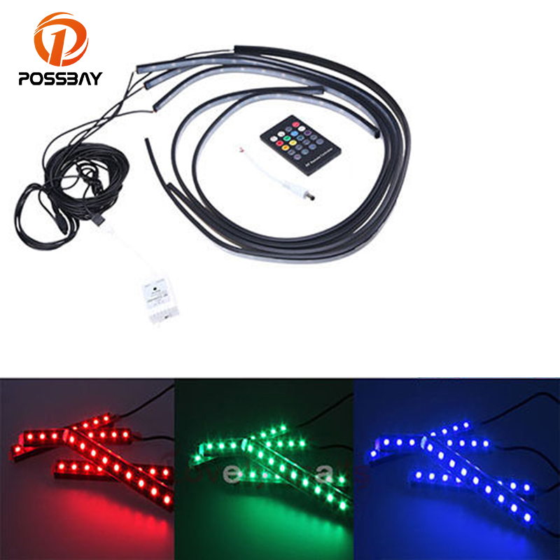 POSSBAY Car LED Chassis Underbody Glow Interior 7Colors RGB LED Strip Ligh with Wireless Music/Remote Control Decorative Light