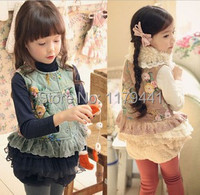 New Arrive 2014 Autumn Spring Girl S Clothing Flower Lace Children S Vest Kids Lolita Style