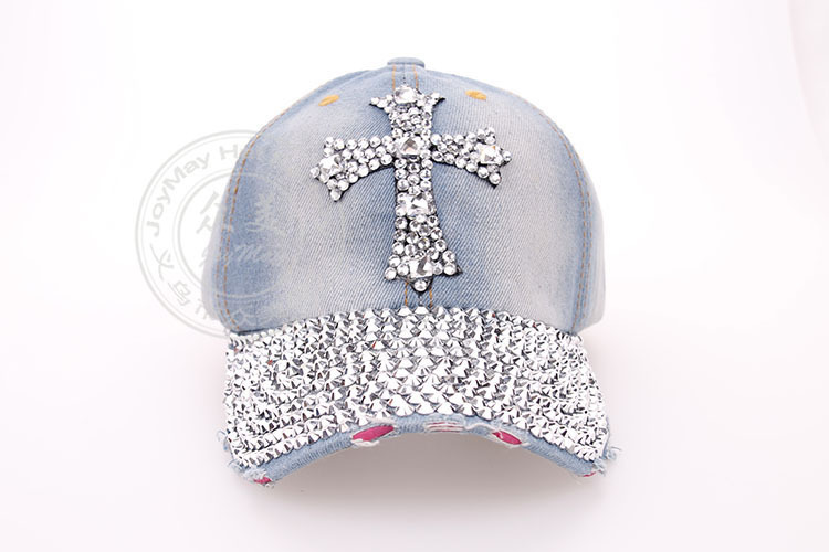 2014 fashion Diamond Point Crosses cowboy denim caps women baseball cap men Hat rhinesto ...