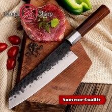 Handmadeมีดเชฟ8นิ้วญี่ปุ่นKiritsukeรูปร่างสูงคาร์บอน4cr13สแตนเลสProfessional Kitchenทำอาหารหั่นเครื่องมือ