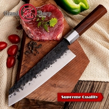Handmade Chef Knife 8 Inch Japanese Kiritsuke Shape High Carbon 4cr13 Stainless Steel Professional Kitchen Cooking Slicing Tools